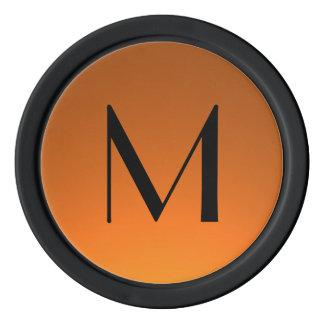 Orange Schwarzes verblassen kundenspezifische Poker Chips Set