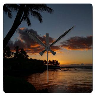 Orange Sonnenuntergang Quadratische Wanduhr