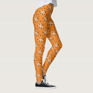 Orange Spinnen-Netz Leggings