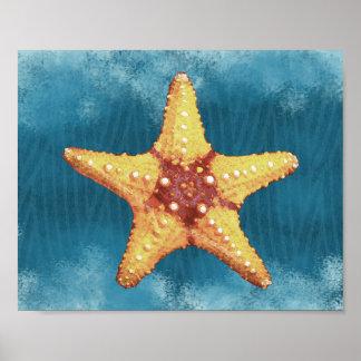 Orange Starfish-Druck Poster