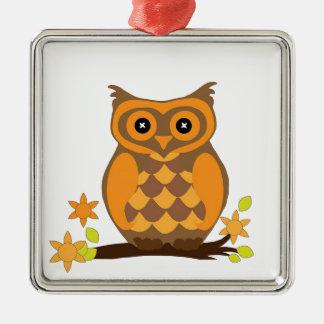Orange süße Eule Silbernes Ornament