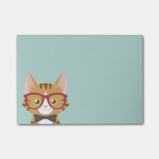 Orange Tabby-Hipster-Katze scherzt Posten-it® Post-it Klebezettel