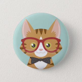 Orange Tabby-Hipster-Katzen-Illustration Runder Button 5,7 Cm