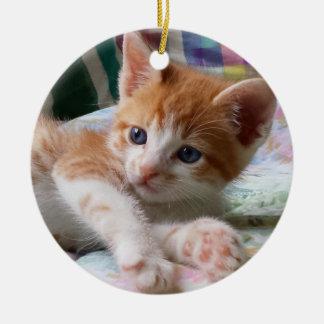 Orange Tabby u. weiße Kätzchen-Verzierung Keramik Ornament