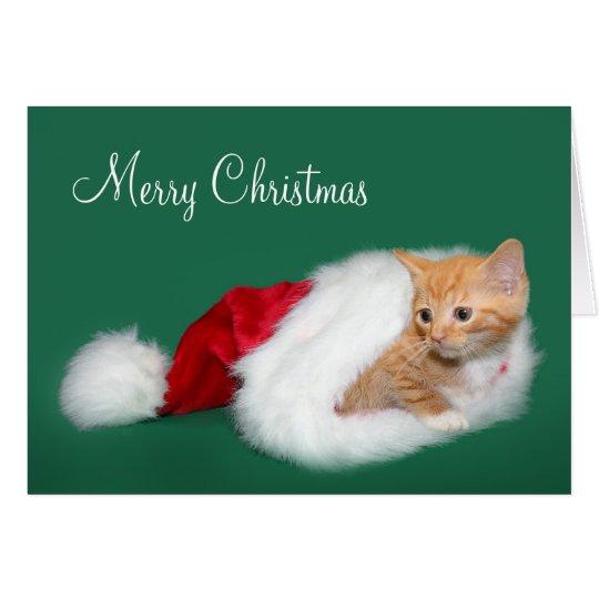Orange Tabby Weihnachtsmannmütze Grußkarte