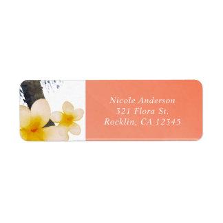Orange tropische Palme u. Plumeria-Einladung
