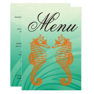 Orange u. grünes Seepferd-Hochzeits-Menü Karte