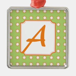 Orange u. weiße Apple-Blüten Silbernes Ornament