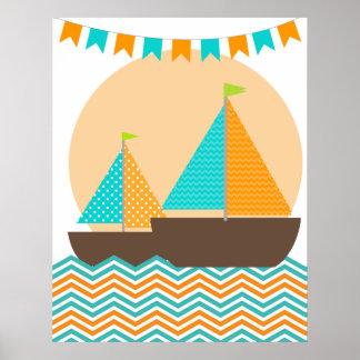 Orange und aquamarines poster