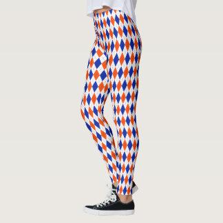 Orange und blaues Preppy Diamant-Rauten-Muster Leggings
