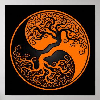 Orange und schwarzer Baum des Lebens Yin Yang Poster
