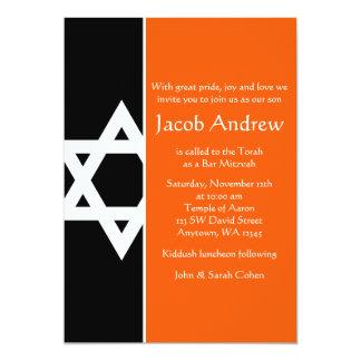 Orange und schwarzer Davidsstern Bar Mitzvah 12,7 X 17,8 Cm Einladungskarte