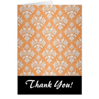 Orange und weißer Artischocken-Damast-Blumenmuster Karte
