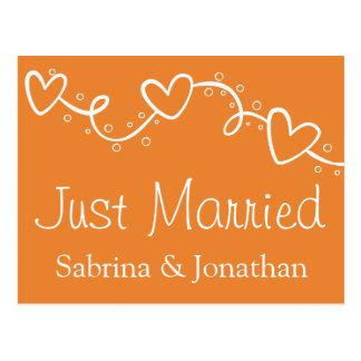 Orange und weißer Jest-verheiratete Postkarte