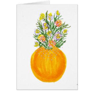 Orange Vase und Blumen Karte