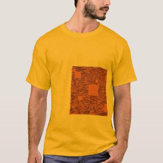 Orange wachsames Floss abstrakter schwarzer Kasten T-Shirt