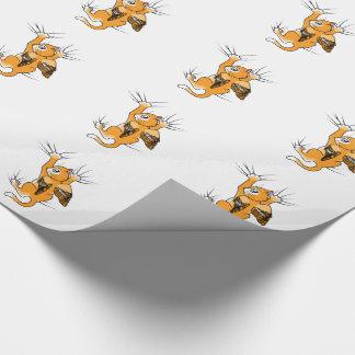 Orange Winged Miezekatze Geschenkpapier