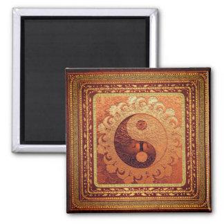 Orange Yin Yang Quadratischer Magnet