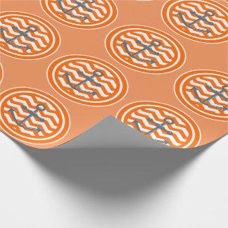 Orange Zickzack Zickzack-Muster-Anker-Lächeln Geschenkpapier
