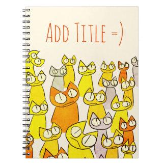 Orangen-Anstarrenlos Katzen Spiral Notizblock