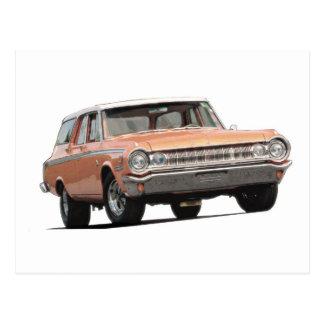 Orangen-Dodge-Kombiwagen 1964 Postkarte