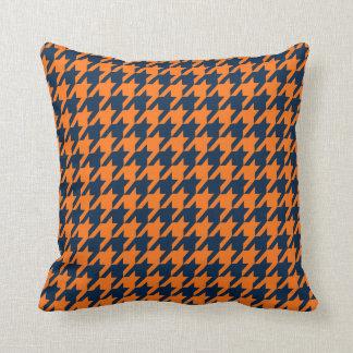 Orangen-/Marine-Hahnentrittmusterthrow-Kissen Zierkissen