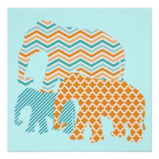 Orangen-und Aqua-Elefant-Plakat Poster