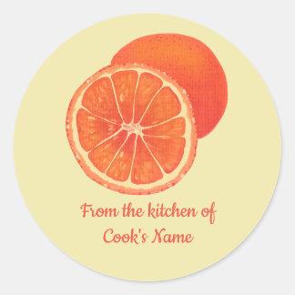 Orangen, von der Küche von, Deckel-Aufkleber Runder Aufkleber