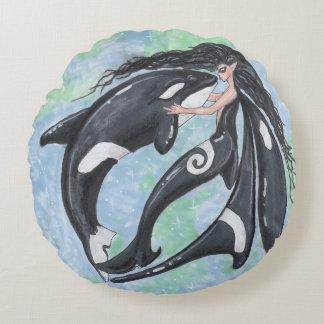Orca-Feen-Elf-Mörder-Wal Yin Yang Rundes Kissen