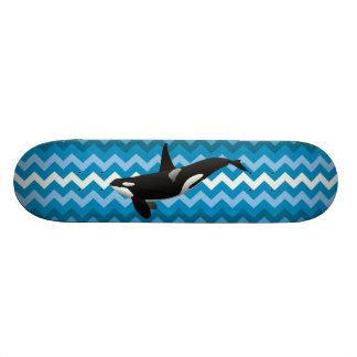 Orca-Mörder-Wal-blauer ZickzackZickzack Skateboard 19,7 Cm Skateboard Deck