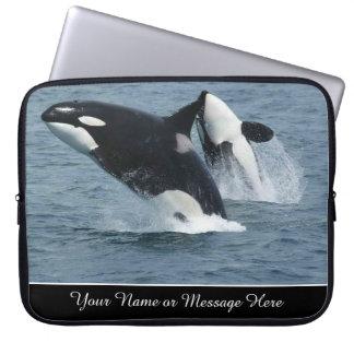 Orca-Mörder-Wal-Durchbrechen personalisiert Laptop Sleeve
