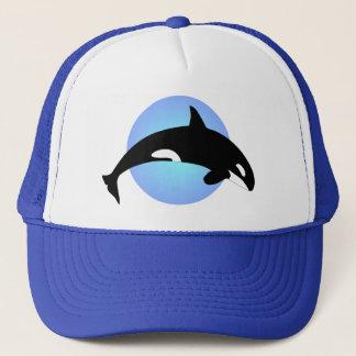Orca-Mörder-Wal-Silhouette-Blau-Kreis Truckerkappe