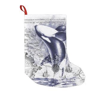Orca-Wal-Vintages Karten-Blau Kleiner Weihnachtsstrumpf