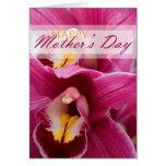 Orchidée rose pour le jour de mères carte de vœux
