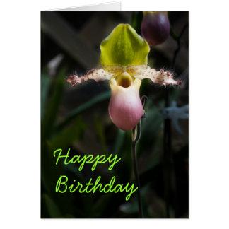 Orchideen-Schablonen-Geburtstags-Karte Karte