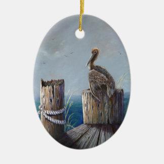 Oregon-Küsten-Brown-Pelikan-Acrylozean-Kunst Keramik Ornament