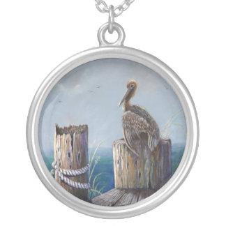 Oregon-Küsten-Brown-Pelikan-Acrylozean-Kunst Versilberte Kette