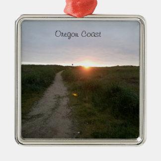 Oregon-Küsten-Strand-Sonnenuntergang-Verzierung Silbernes Ornament