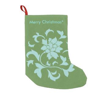 Orientalische Blume - frohe Weihnachten - Grün Kleiner Weihnachtsstrumpf