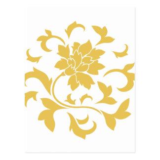 Orientalische Blume - Senf-gelbes Kreismuster Postkarte