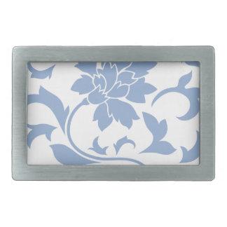 Orientalische Blume - Serenity-Blau Rechteckige Gürtelschnalle