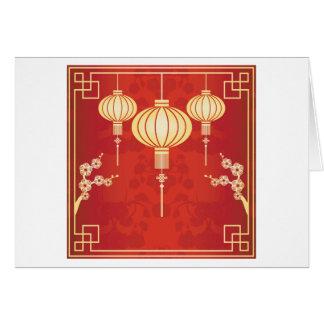 Orientalische chinesische Laternen-Illustration Grußkarte