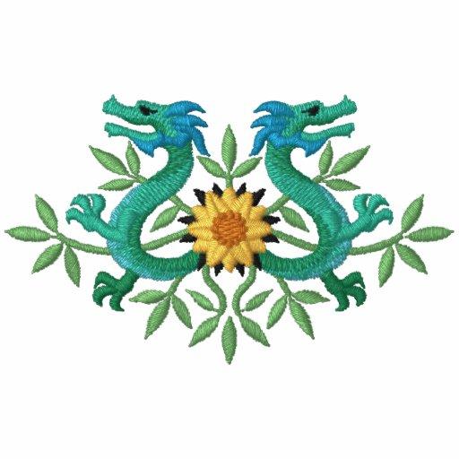 Orientalische Drache-Blumen Besticktes Kapuzenpulli