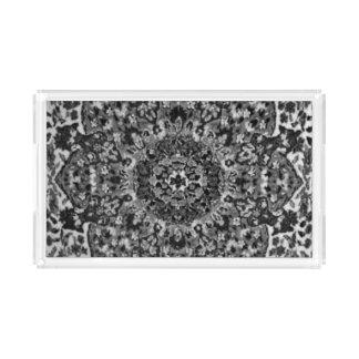 Orientalische Schwarzweiss-Wolldecke Acryl Tablett