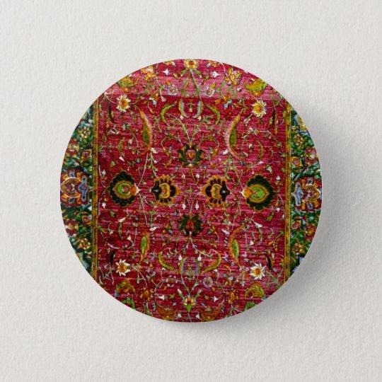 Orientalische Wolldecke im Rot und im Grün Runder Button 5,7 Cm