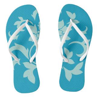 Orientalischer Blume-Limpet-Muschel-Blaues Weiß Badesandalen
