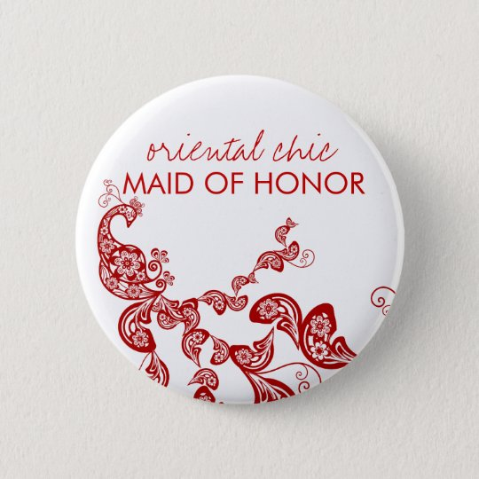 Orientalischer schicker roter runder button 5,7 cm