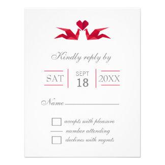 origami rote Kräne, die UAWG wedding sind Personalisierte Einladungskarte