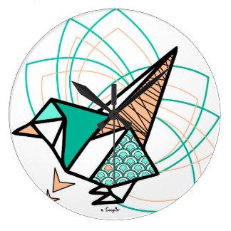 Origamivogel Große Wanduhr
