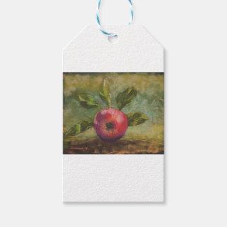 Originalvorlage, die roten Apfel malt Geschenkanhänger